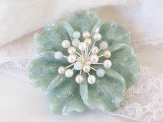 Sterling Silver 925 Green Carved Flower Pearl Brooch Pendant Enhancer #QVC #Pendant Sterling Jewelry, Sterling Silver, Pearl Brooch, Qvc, Artisan, Carving, Pearls, Gemstones, Flower
