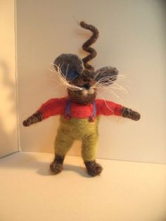 Milton Mouse Wool Wrapped Ornament by WhimsicalWoolies on Etsy, $25.00