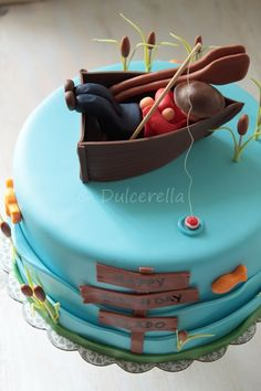 The lazy fisherman cake Fish Cake Birthday, Birthday Cakes For Men, Birthday Parties, Fondant Cakes, Cupcake Cakes, Fisherman Cake, Double Chocolate Cake, Chocolate Cream, Dad Cake