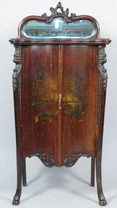 Antique sheet music cabinet w/mirror & 1 drawer & 7 shelves 48 ...