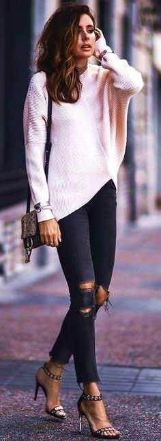 #summer #american #style Batwing Blush Sweater  Black Ripped Jeans  - more on http://ift.tt/2rynWxj