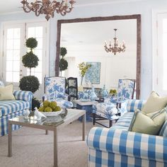 blue and white check and print - like the topiary with the mix