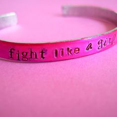 Breast Cancer Awareness- Fight Like a Girl Cuff Bracelet in Fuchsia -100% of Proceeds donated
