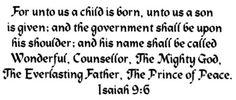 "Tim Tebow tweet (December 23, 2012) ""Isaiah 9:6"""