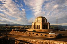 Vista House at Crown Point -- One of the most photographed sites along the Historic Columbia River Highway. It is a memorial to Oregon's pioneers, an observatory, and public comfort station.