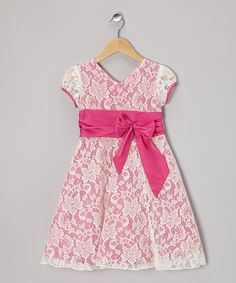 Take a look at this Fuchsia & White Floral Lace Bow Dress on zulily today!