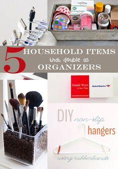 5 Household items that double as organizers // DIY organizing ideas // cord organizing // kitchen cabinet organization // makeup brush storage // drawer dividers // closet makeover