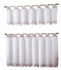 Today's Curtain Capri Reverse Embroidery Tab Top Curtain Tier, White/Rose >>> You can get additional details at the image link. (This is an affiliate link)