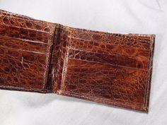 New Handmade Genuine Brown Alligator - Crocodile Skin Premium Bifold  Wallet 45