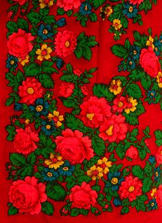 Russian Pavlovsky Posad shawl, rare pattern with hibiscus flowers. #Russian #shawl