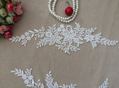 White Lace Appliques Embroidered Flowers Patches by DIYCuteCrafts