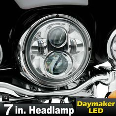 "57683 motorcycle-parts 7"" LED Chrome Projector Daymaker Headlight For Harley Road King Custom FLHRS  BUY IT NOW ONLY  $115.65 7"" LED Chrome Projector Daymaker Headlight For Harley Road King Custom FLHRS..."