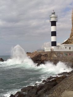 Águilas, Murcia, Spain Beautiful World, Beautiful Places, Lighthouse Lighting, Crashing Waves, Spain And Portugal, Holiday Destinations, Seaside, Sunrise, Around The Worlds