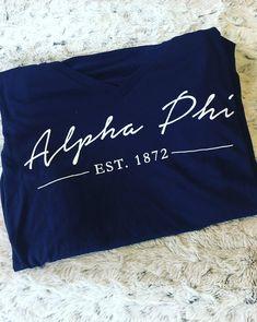 Alpha Phi | Script Design | Tee Shirt Design | South by Sea | Greek Tee Shirts | Greek Tank Tops | Custom Apparel Design | Custom Greek Apparel | Sorority Tee Shirts | Sorority Tanks | Sorority Shirt Designs