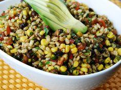 Santa Fe Bean  Barley Salad- barley, tomatoes, corn, black beans, red bell pepper, white onion, garlic salt, cumin, chili powder, jalapeno, cilantro, lime