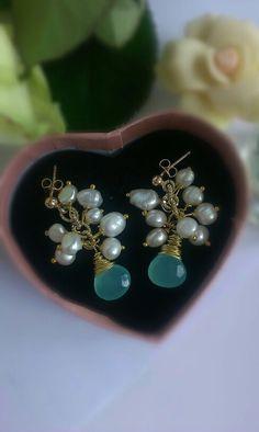 Acqua calcedony earrings pearls OlgAurora on etsy.com