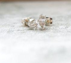 Wire wrapped Herkimer Diamond Tiny Stud by AbigailJewellery