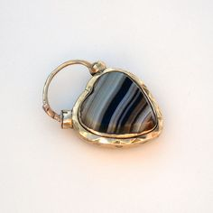 Victorian Gold  Banded Agate Heart Locket