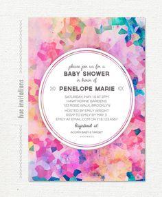 watercolor baby shower invitation, bright geometric invitation pink magenta purple violet blue, baby girl modern digital invitation 5x7 110 by hueinvitations on Etsy https://www.etsy.com/listing/191390669/watercolor-baby-shower-invitation-bright