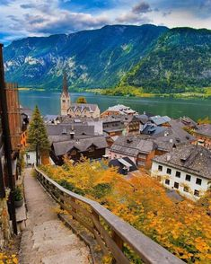 Hallstatt is a village in the Salzkammergut region of Austria. This beautiful village is on the shore of Lake Hallstätter. Holiday Destinations, Travel Destinations, Beautiful Places In The World, Amazing Pics, Austria, Places To See, Traveling By Yourself, The Good Place, Around The Worlds