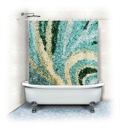 Fabric Shower Curtain Mosaic swirlaqua home by VintageChicImages, $64.99