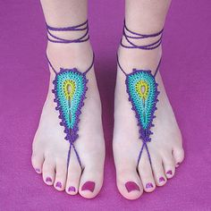 Barefoot sandals are great for summer time and these can even be worn into the water! They also look good worn with sandals or low cut flats! They're made with embroidery floss or crochet thread, which I know can be intimidating, but I use a size C hook which is larger than what you would normally use for such small thread, and makes it much easier to work with!