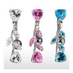 Shop for Navel Belly Button Ring with Top Drop Heart and CZ Vine - 14GA 3/8