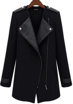 Black Contrast PU Leather Trims Oblique Zipper Coat pictures