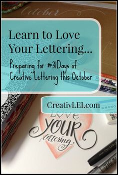 Do you want to learn more about creative lettering. #31days of FREE hand-lettering tips and resources! | CreativLEI.com Lettering Styles, Doodle Lettering, Creative Lettering, Brush Lettering, Hand Lettering, Drawing Letters, Learn Calligraphy, Modern Calligraphy, Calligraphy Letters