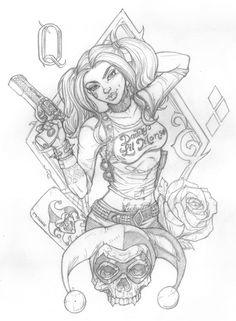 Harley quinn design by muglo harley quinn tattoo, joker and harley quinn, deviantart tattoo Harley Quinn Tattoo, Harley Tattoos, Harley Quinn Drawing, Joker Und Harley Quinn, Art Sketches, Art Drawings, Joker Kunst, Harley Queen, Clown Tattoo