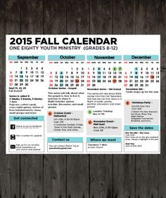 Fall 2015 youth ministry calendar - Youth Ministry Media Shop