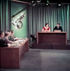 Kennedy participates in a panel discussion on NBC's Meet the Press, which aired on Feb. 14, 1954.