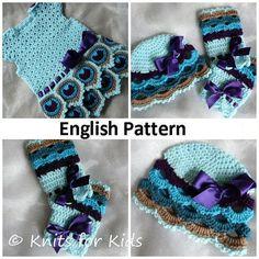 English Crochet Pattern Baby Set Peacock 0-18 months Dress + Beanie + Legwarmers