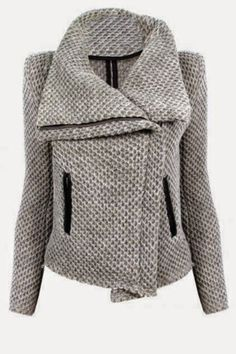 Fresh Style Zippered Turn-Down Collar Mesh Knitted Coat For Women