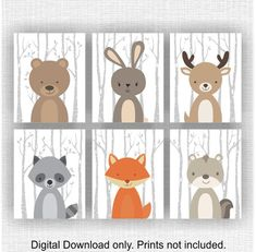 Forest Animals nursery printable Fox Fawn Bear by myfavoritedecor