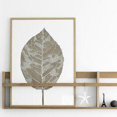 Birch Leaf Lino Print gold/white