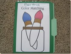 Paint Brush Color Matching - The download includes: File Folder Game Cover Page 8 Color Jars (Green, Pink, Yellow, Orange, Blue, Purple, Red, Brown) 32 Colored Paint Brushes (4 of each color)