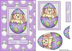 A Bunny in the Egg  on Craftsuprint designed by Barbara Alderson - step by step decoupage on a card front  - Now available for download!