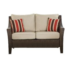 Rolston Wicker Love Seat Replacement Cushion Set