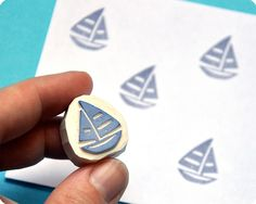 Sailing boat hand carved rubber stamp by Memi The Rainbow, via Flickr