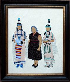 SUZY AND HER DAUGHTERS  Teri Greeves (Kiowa)  Beading on silk
