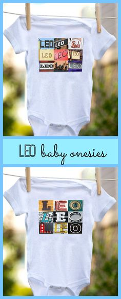 Custom baby boy onesies featuring the name LEO in sign photos -- makes a great baby shower gift!