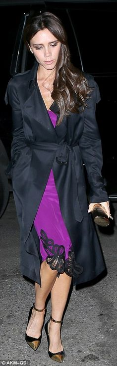 Victoria Beckham cuts a sleek silhouette in a violet slip dress in NYC #dailymail