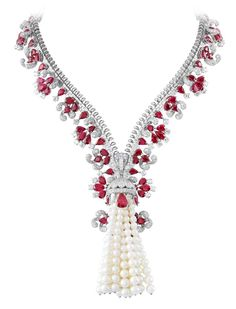 Set in white gold, the Zip necklace features rubies, diamonds, and cultured pearls. The Zip necklace's history begins in the late 1930s when the Duchess of Windsor suggested that a zipper be used as inspiration for a jewelry piece. The Zip design can be worn two ways, as a necklace or closed as a bracelet.