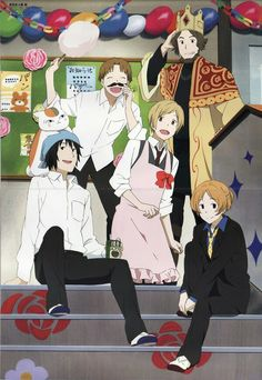 Natsume so happy with his buddied on cultural festival day. Natsume Yuujinchou