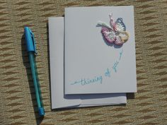 Thinking of You card crochet butterfly notecard by Mylittlejj