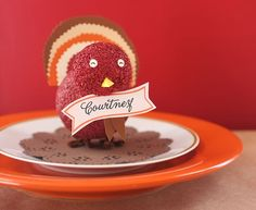 DIY Turkey Place Cards (made from styrofoam balls) + free printable name card template  {Evite}