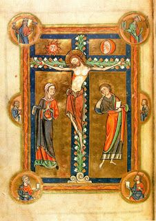 Illumination - Crucifixion with symbols of sun & moon Robert de Lindesey, Abbott of Peterborough - Society of Antiquaries MS 59 Medieval manuscript Medieval Manuscript, Medieval Art, Illuminated Manuscript, Julian Of Norwich, Christian Art, Christian Church, Book Of Kells, Book Of Hours, Sacred Art