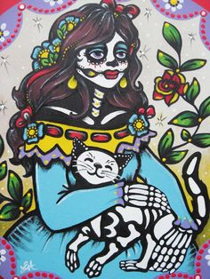 "Day of the Dead Cat Mexican Folk Art Painting - ""Amigas Para Siempre"" (Forever Friends). $120.00, via Etsy."