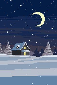 Winter snowing in the moonlight pixel art animation Cool Pixel Art, Cool Art, Aesthetic Backgrounds, Aesthetic Wallpapers, Arte 8 Bits, Pixel Art Background, Pixel Animation, 8bit Art, Pixel Art Games